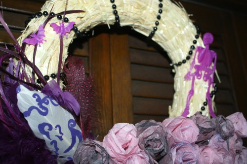 Up Close Decorations for DIY Day of the Dead Halloween Wreath from The Siren's Tale