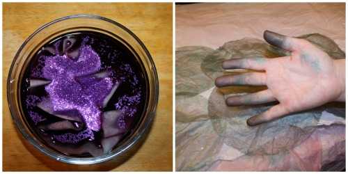 Glitter and Stained Hands for DIY Day of the Dead Halloween Wreath from The Siren's Tale